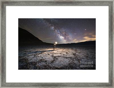 Midnight Explorer At Badwater Basin  Framed Print