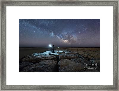 Midnight Explorer At The Barnegat Jetty  Framed Print by Michael Ver Sprill