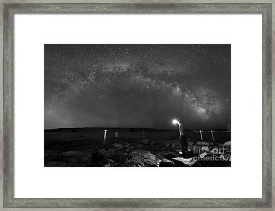 Midnight Explorer At The Waters Edge Bw Framed Print