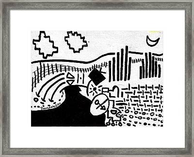 Midnight Farm Original Black Ink On White Canvas By Ricardos Framed Print by Ricardos Creations
