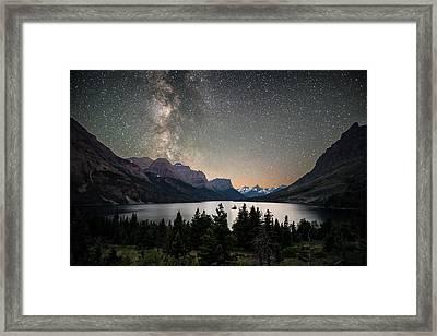 Midnight In Glacier National Park Framed Print