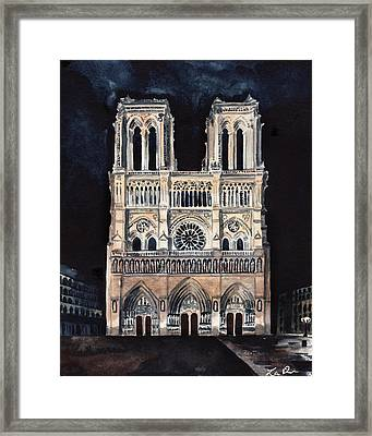 Midnight In Paris At Notre Dame Cathedral France Framed Print by Laura Row