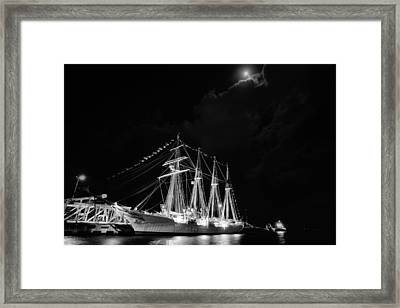 Midnight In Pensacola Black And White Framed Print by JC Findley