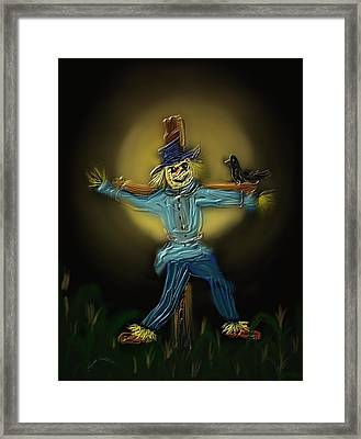 Framed Print featuring the painting Midnight In The Cornfield by Kevin Caudill