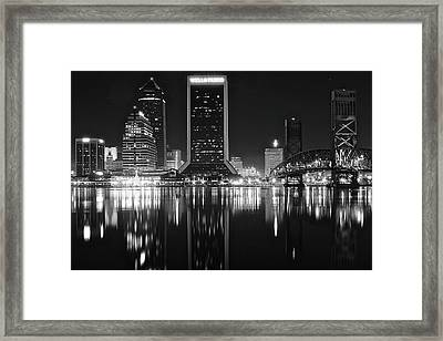 Midnight Lights In Jacksonville Framed Print by Frozen in Time Fine Art Photography