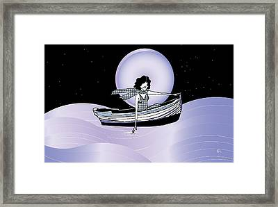 Midnight Moonlit Sail Framed Print by Cecely Bloom