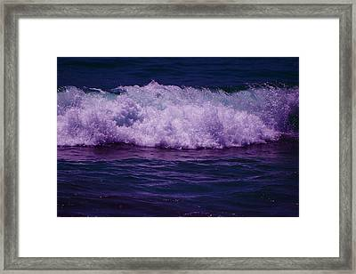 Midnight Ocean Wave In Ultra Violet Framed Print