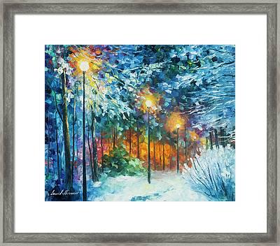 Midnight Snow Songs  Framed Print by Leonid Afremov