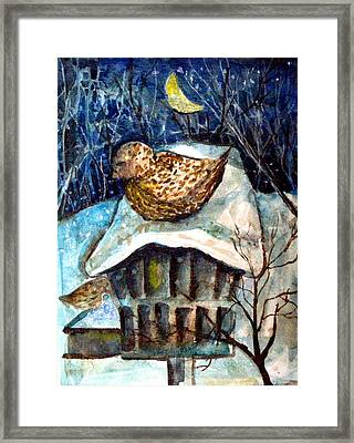 Midnight Sparrow Framed Print