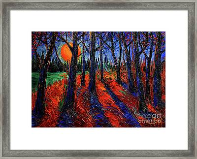 Midnight Sun Wood Modern Impressionist Palette Knife Oil Painting By Mona Edulesco Framed Print