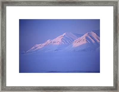 Midnight Sunset On Polar Mountains Framed Print
