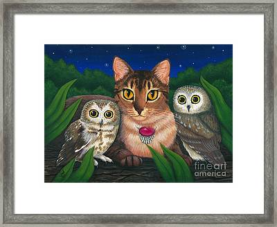 Framed Print featuring the painting Midnight Watching - Abyssinian Cat Saw Whet Owls by Carrie Hawks
