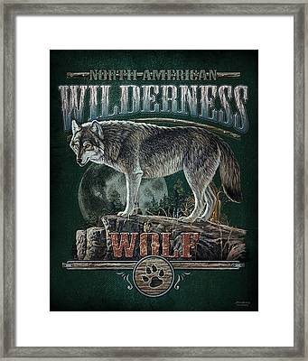 Midnight Wolf Sign Framed Print by JQ Licensing