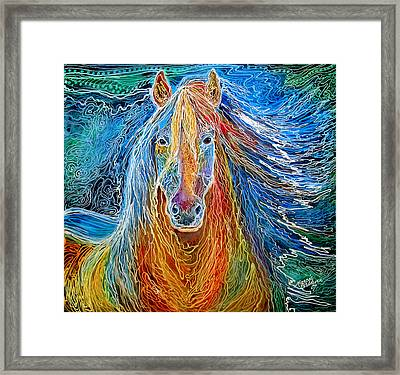 Midnightsun Equine Batik Framed Print by Marcia Baldwin