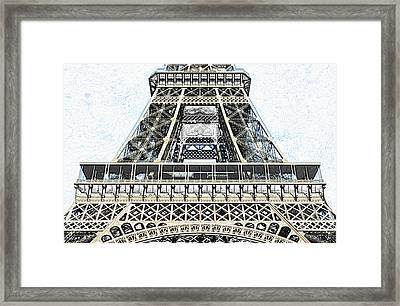 Midsection First And Second Levels Of The Eiffel Tower Paris France Colored Pencil Digital Art Framed Print