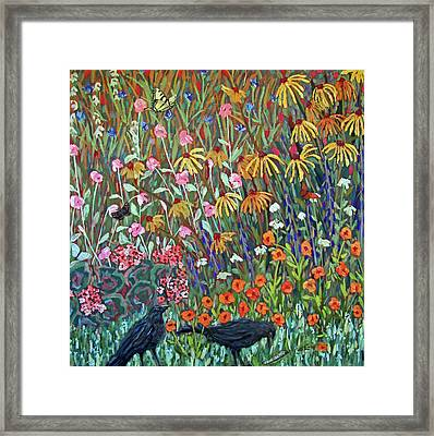 Framed Print featuring the painting Midsummer Enchantment- Diptych Side A by Susan  Spohn