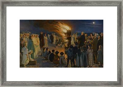 Midsummer Eve Bonfire On Skagen Beach Framed Print by Peder Severin Kroyer