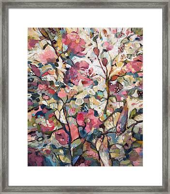 Midsummer Hollyhocks Framed Print by Jen Norton