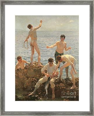 Midsummer Morning, 1908 Framed Print by Henry Scott Tuke