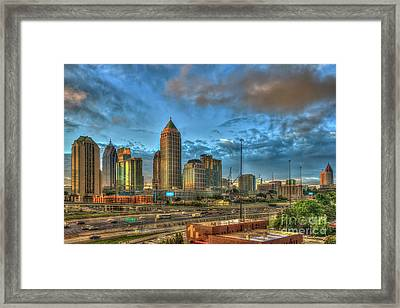 Framed Print featuring the photograph Midtown Atlanta Sunrise Construction Boom Art by Reid Callaway