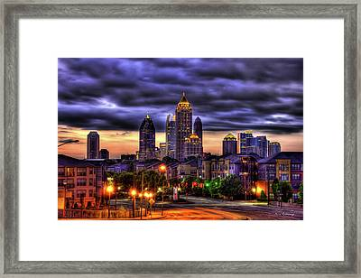 Framed Print featuring the photograph Midtown Atlanta Towers Over Atlantic Commons by Reid Callaway