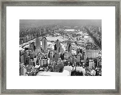 Midtown Manhattan And Central Park View In Winter Framed Print