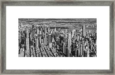 Midtown Manhattan Nyc Aerial View Bw Framed Print by Susan Candelario