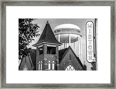 Midtown Neon On The Bentonville Arkansas Sqaure Black And White Framed Print by Gregory Ballos