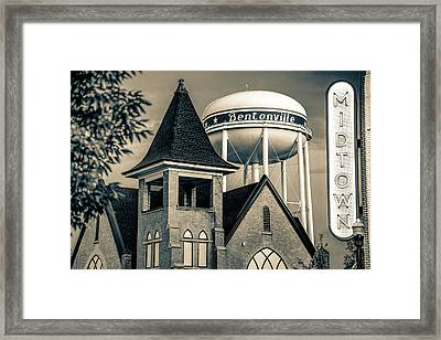 Midtown Neon On The Bentonville Arkansas Square - Sepia Framed Print