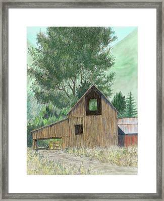 Midway Barn Colorized Framed Print by David King