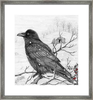 Midwinter Raven Framed Print by Philip Harvey