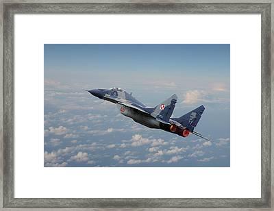 Framed Print featuring the digital art Mig 29 - Polish Fulcrum Dedication by Pat Speirs