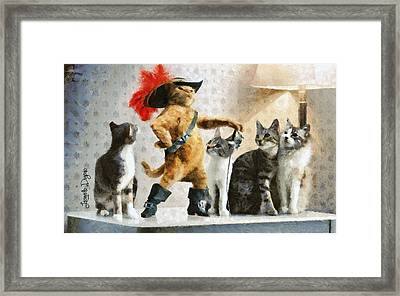 Mighty Cat With Boots Framed Print by Leonardo Digenio
