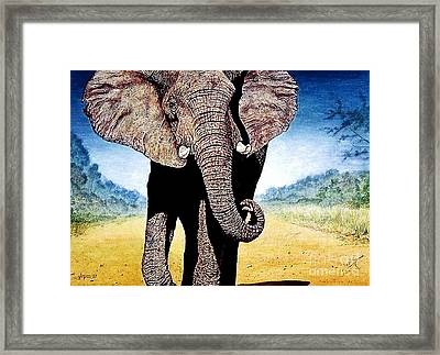 Framed Print featuring the painting Mighty Elephant by Hartmut Jager