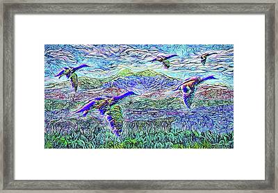 Migrate Beyond The Mountain Framed Print