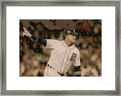 Miguel Cabrera Detroit Tigers Painting Framed Print by Design Turnpike
