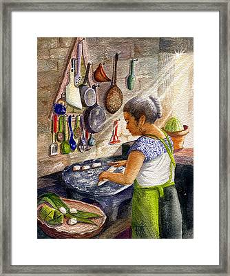 Mika, The Tamale Maker Framed Print by Marilyn Smith