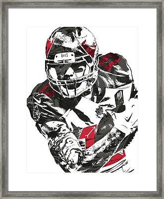 Framed Print featuring the mixed media Mike Evans Tampa Bay Buccaneers Pixel Art by Joe Hamilton