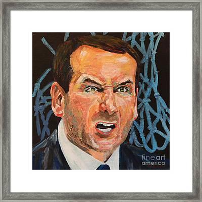 Mike Krzyzewski Aka Coach K Portrait Framed Print by Robert Yaeger