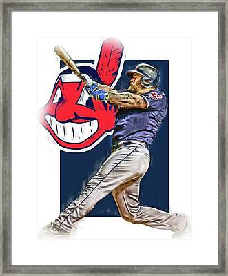 Mike Napoli Cleveland Indians Oil Art 2 Framed Print