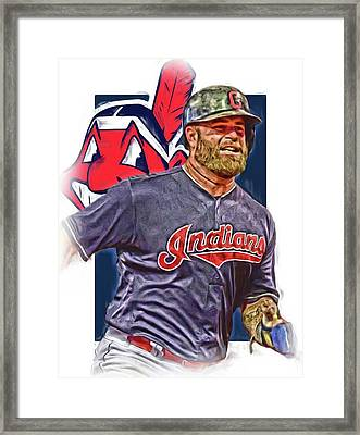 Mike Napoli Cleveland Indians Oil Art Framed Print