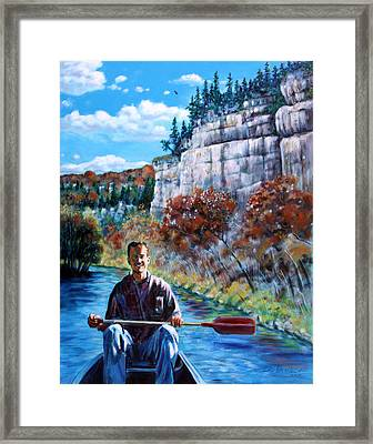 Mike On Float Trip Framed Print by John Lautermilch