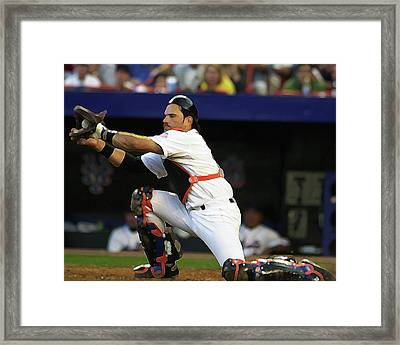 Mike Piazza Of The New York Mets Framed Print by Jonathan Eric
