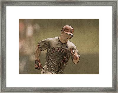 Mike Trout Anaheim Angels Painting Framed Print by Design Turnpike