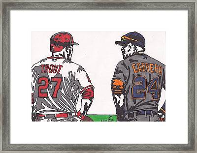 Mike Trout And Miguel Cabrera Framed Print by Jeremiah Colley