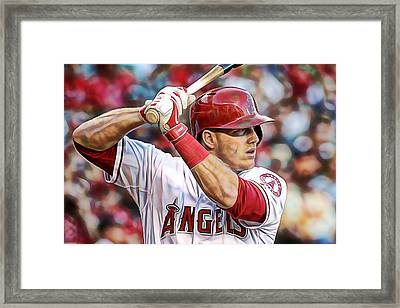 Mike Trout Baseball Framed Print