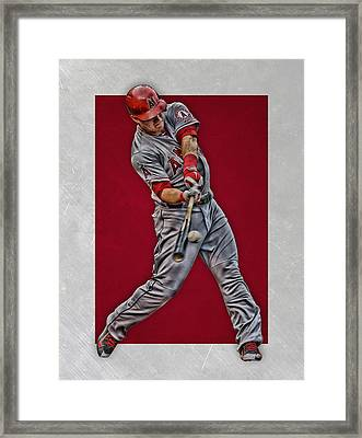 Mike Trout Los Angeles Angels Art 1 Framed Print by Joe Hamilton