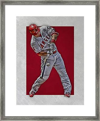 Mike Trout Los Angeles Angels Art 2 Framed Print by Joe Hamilton