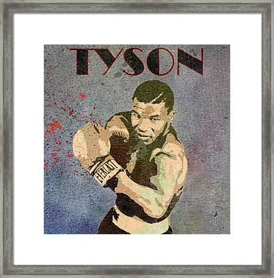 Mike Tyson Concrete Grunge Framed Print
