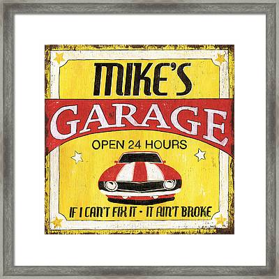 Mike's Garage Framed Print